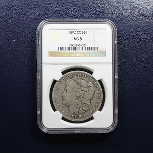 1892 CC Morgan Dollar NGC VG 8 - CARSON CITY. Available now at Finger Lakes Numismatics. Visit our store or contact us at (315) 308-6943 or email us at coins.fln@gmail.com