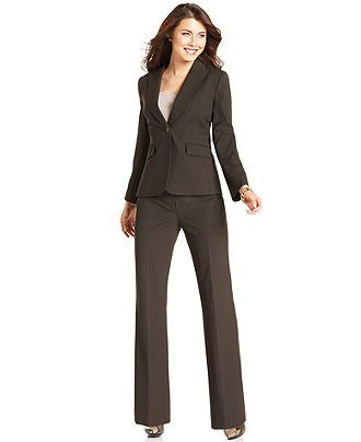 Tahari by ASL Suit, Pinstriped Jacket & Faux-Leather Trim Pants ...