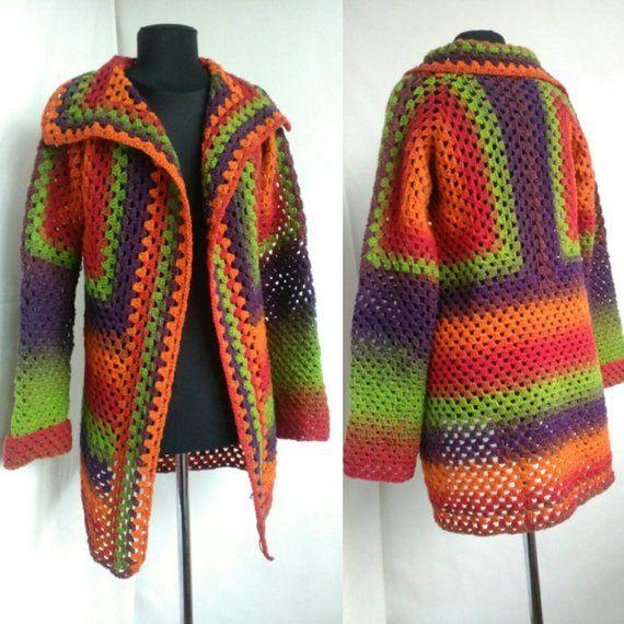 Rainbow Wool Cardigan Women Wool Jacket Coat Knit Cardigan Jacket Coat Rainbow Clothing Boho Granny