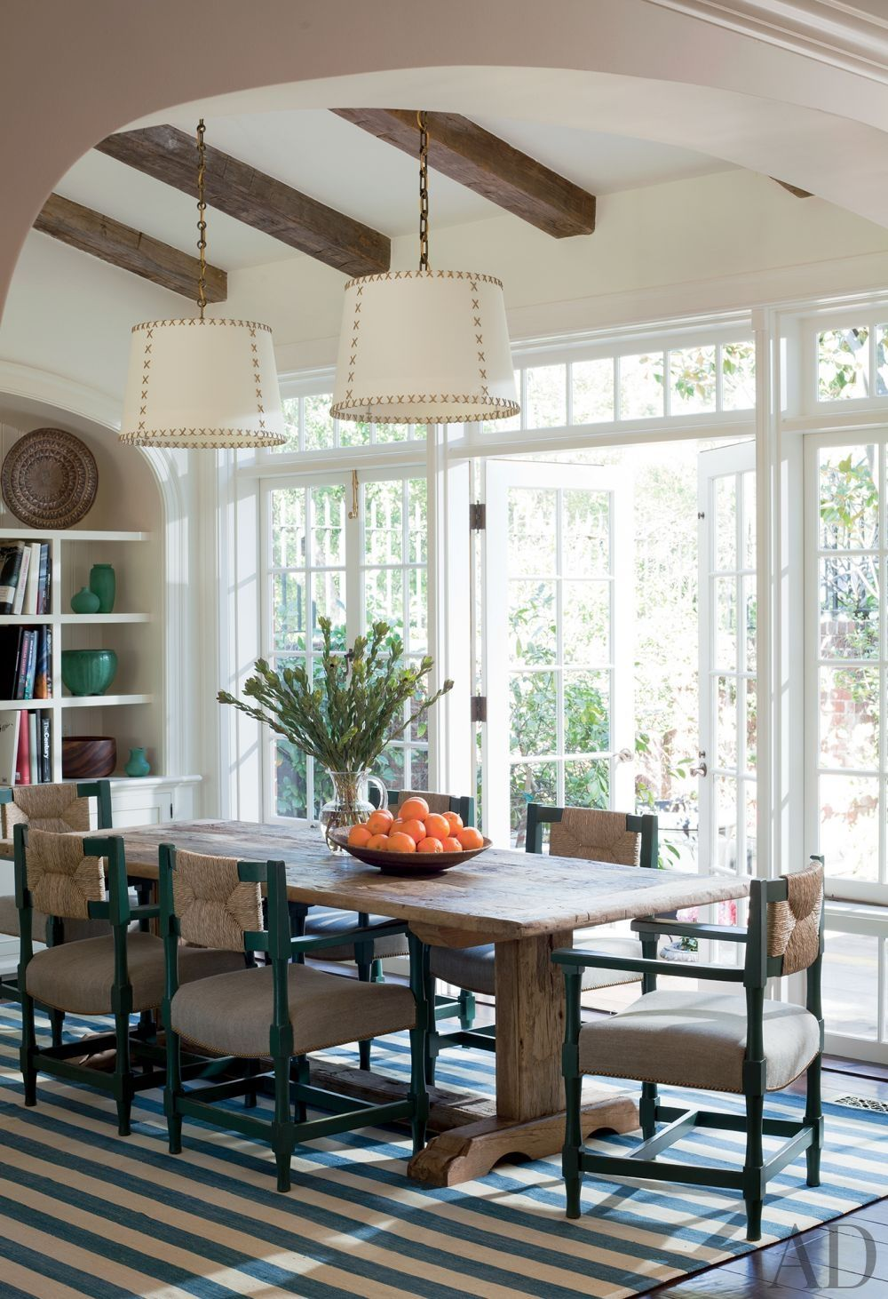 Traditional Dining Room by Peter Dunham  Design for French windows wall iin DR
