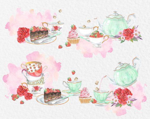 Watercolor Tea Party Watercolor Clipart Wreath Clip Art Watercolor