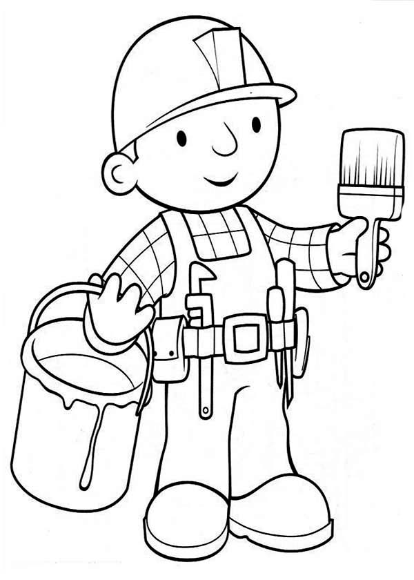 Bob The Builder Ready To Paint The Wall Coloring Page Coloring Sun Coloring Pages Coloring Pages For Kids Coloring For Kids