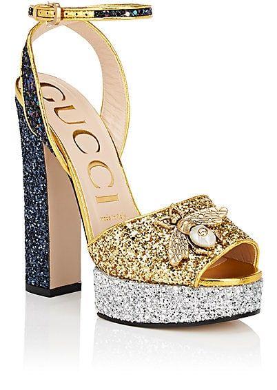6eaec224dff7 Gucci Soko Glitter Platform Sandals - Heels -  980