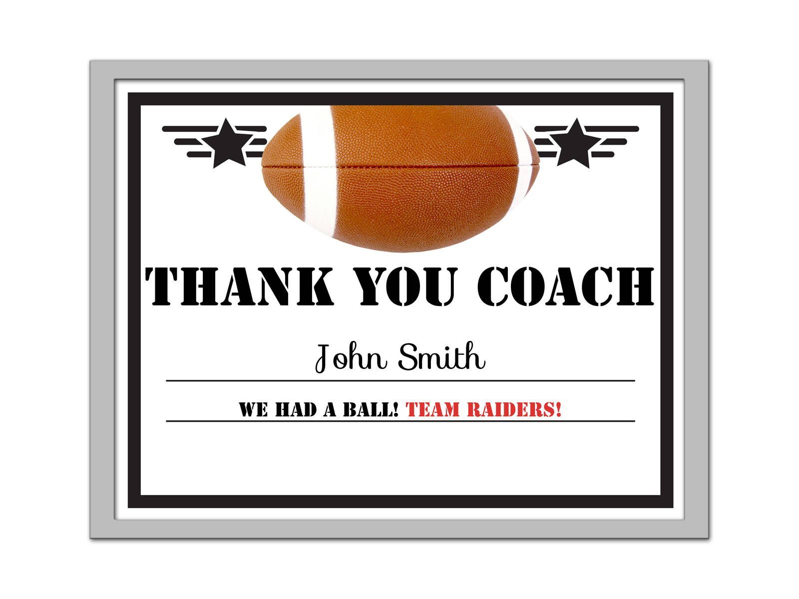 Editable PDF Sports Team Game Football Thank You Coach Certificate Award  Template