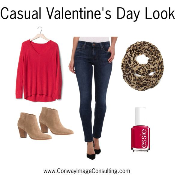 Casual Valentine's Day Look by leannimage on Polyvore featuring Gap, Joe's Jeans, J.Crew and Essie