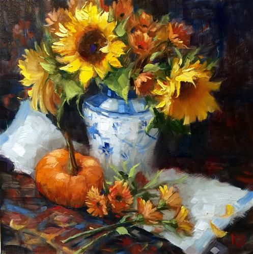 """Sunflowers & Pumpkin"" by Krista Eaton"