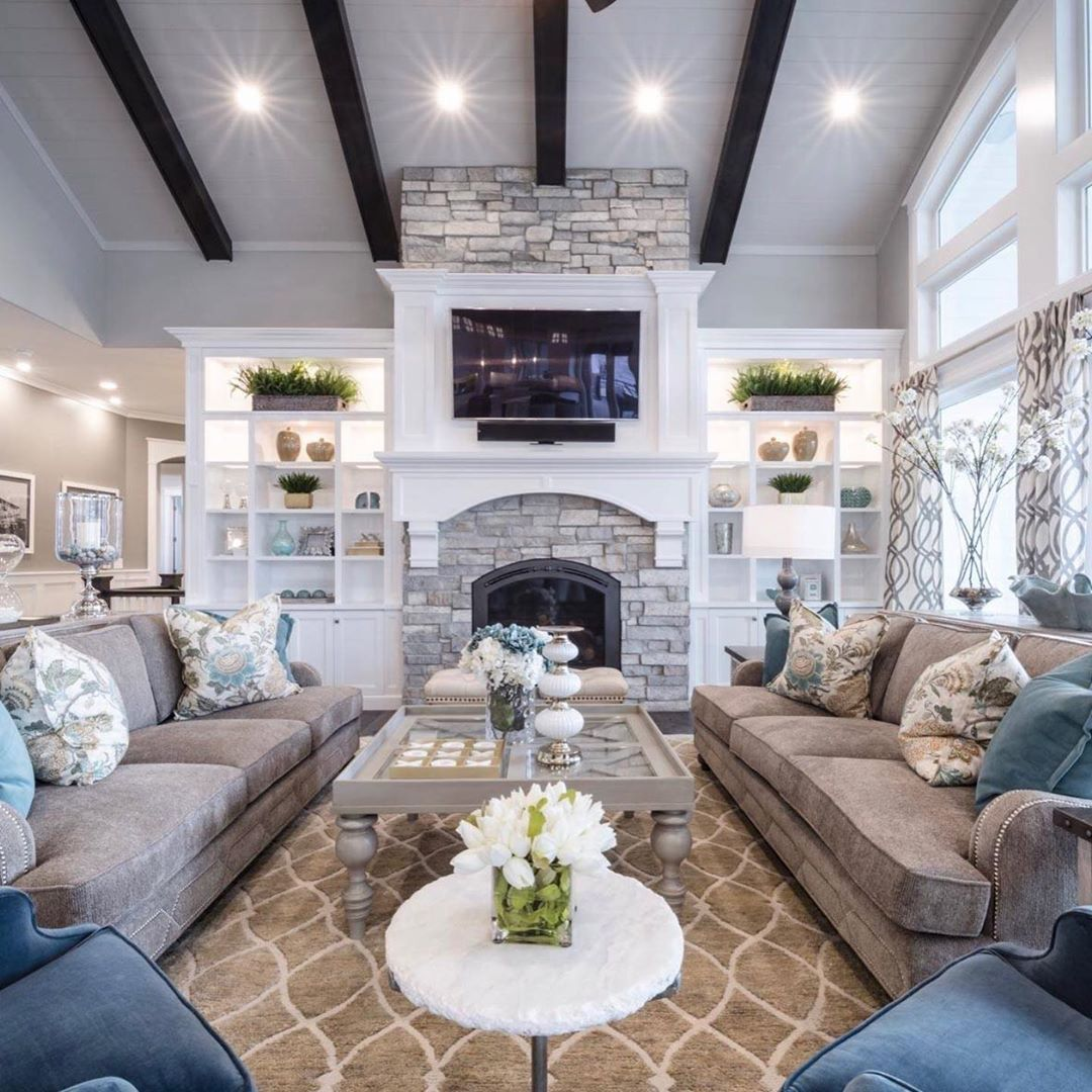 Elle On Instagram What A Gorgeous Home By Alairhomes Saltlake Dreamhom In 2020 Large Living Room Layout Family Room Layout Great Room Layout
