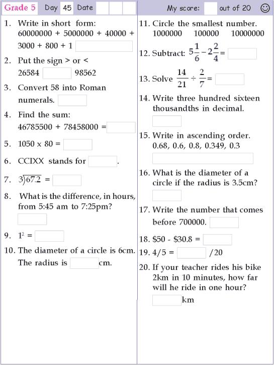 Mental Math Grade 5 Day 45 Math Pages Grade 5 Math Worksheets Mental Math