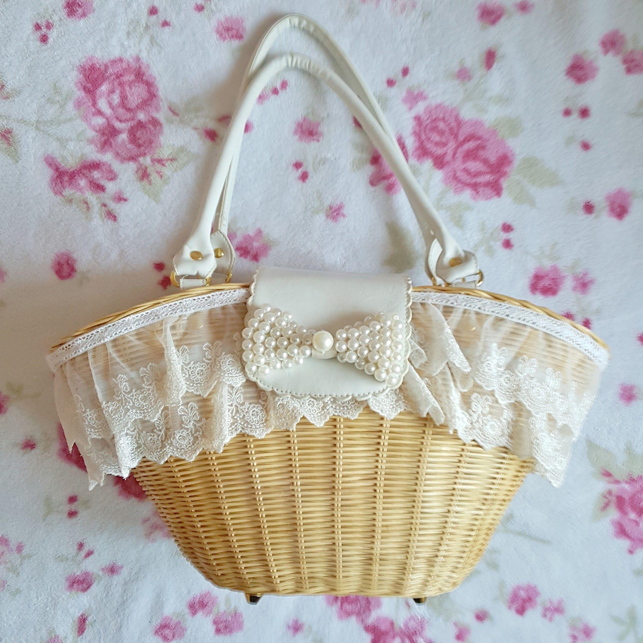 LIZ LISA Lace Beach Woven Basket purse sold by HANAKO