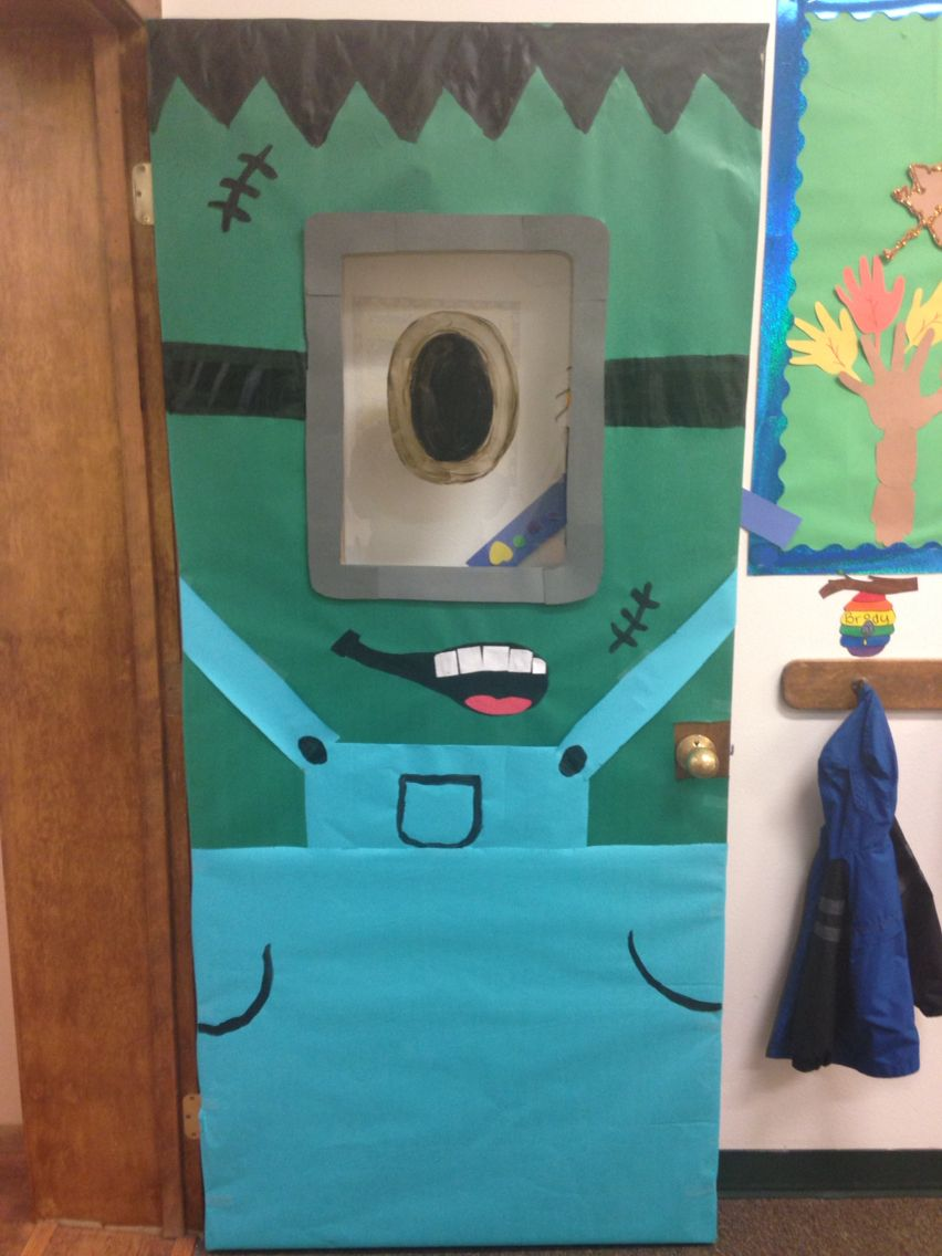 Frankenminion! My Halloween Door Decoration for my classroom - Halloween Door Decoration Ideas