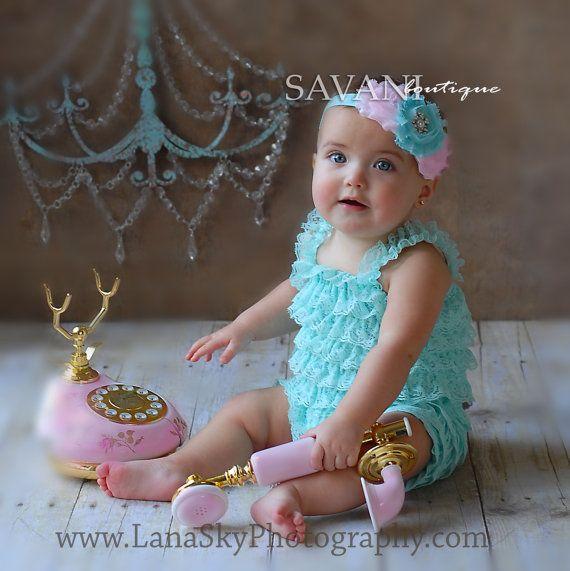 54000dabc Baby lace romper , 2 pcs AQUA pink petti romper & headband, newborn photo  props