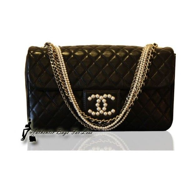 14d682b470 Authentic Bags For Less - Authentic Chanel Westminster Pearl Black... ❤  liked on Polyvore featuring bags