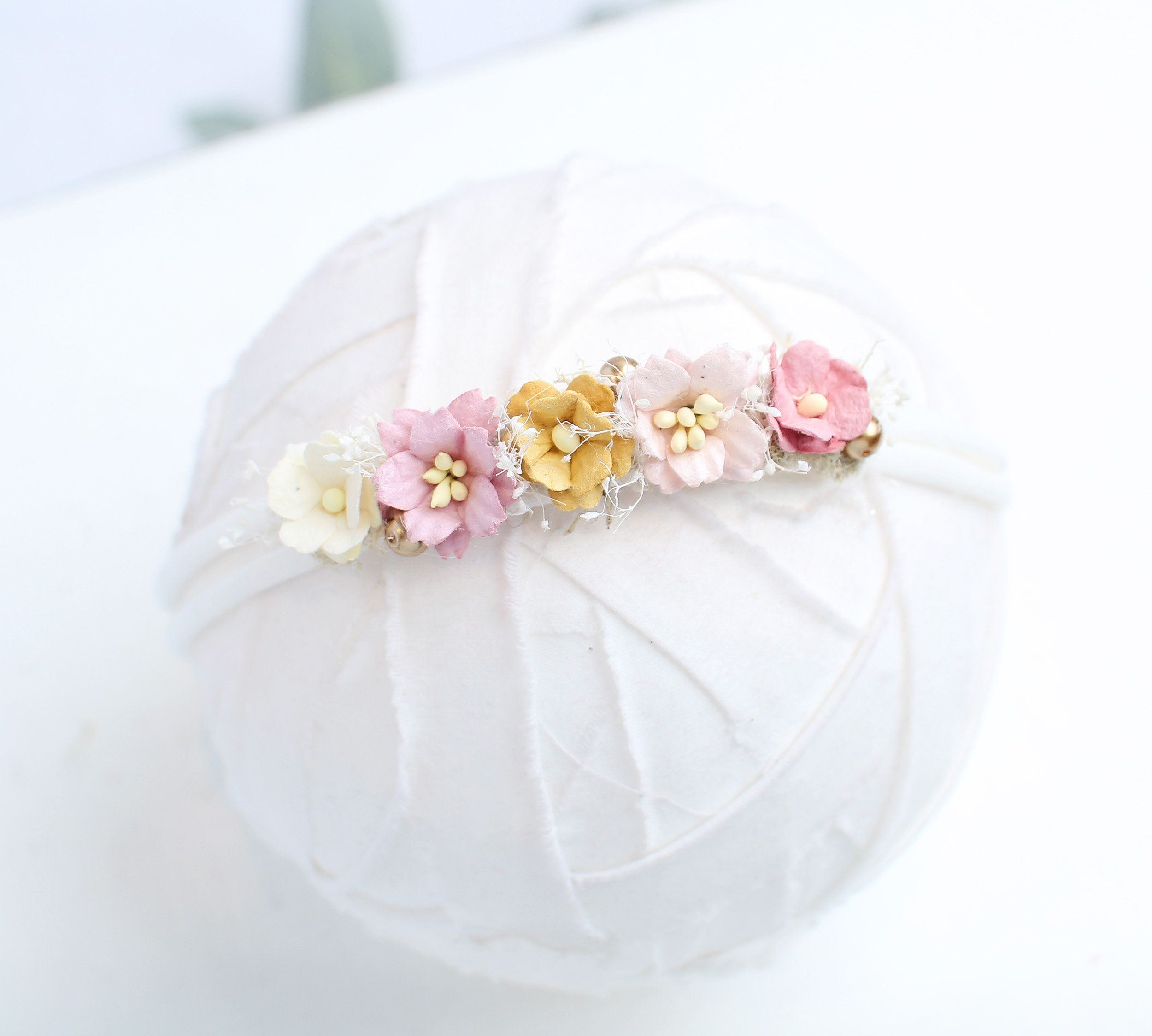 Strawberry Banana Taffy - dainty halo crown headband in mustard yellow, dusty mauve pink, pink, gold, cream and moss (RTS) #crownheadband