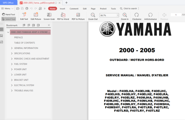 2000 2005 Yamaha 40hp 4 Stroke Outboard Repair Manual Repair Manuals Outboard Repair