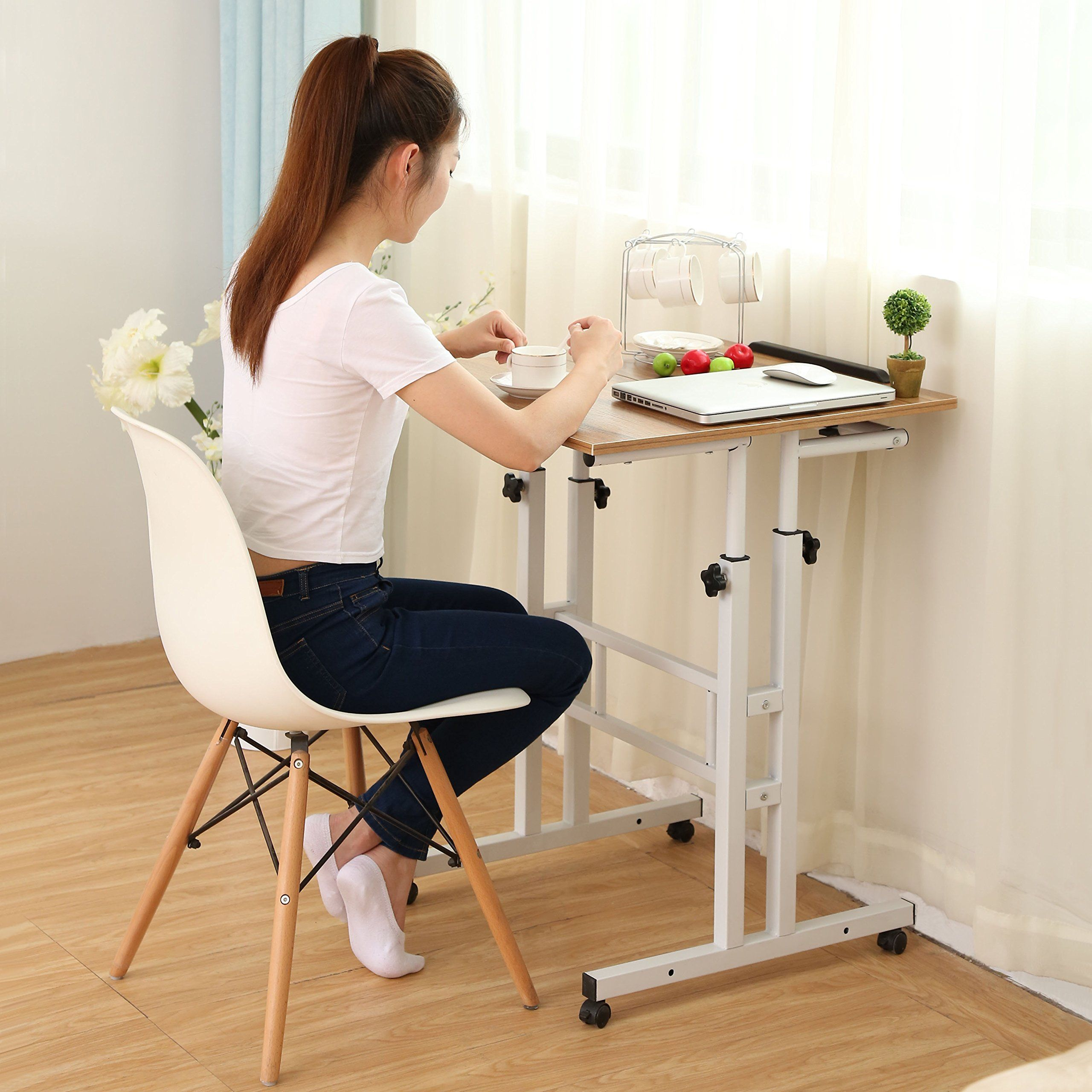 Sdadi Adjustable Height Mobile Stand Up Desk Computer ...