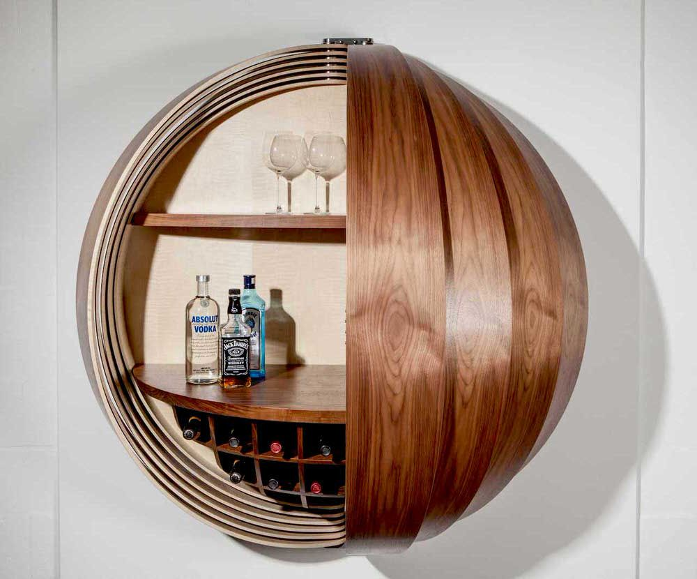 Homeli Design Blog Dime Spherical Drinks Cabinet By Splinter Works Bar Cabinet Design Modern Bar Cabinet Wall Mounted Bar