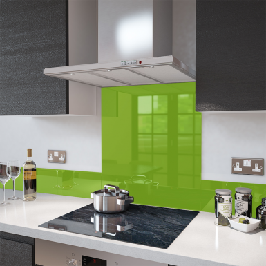 Lime Green Toughened Glass Splashback 60cm Wide X 75cm High