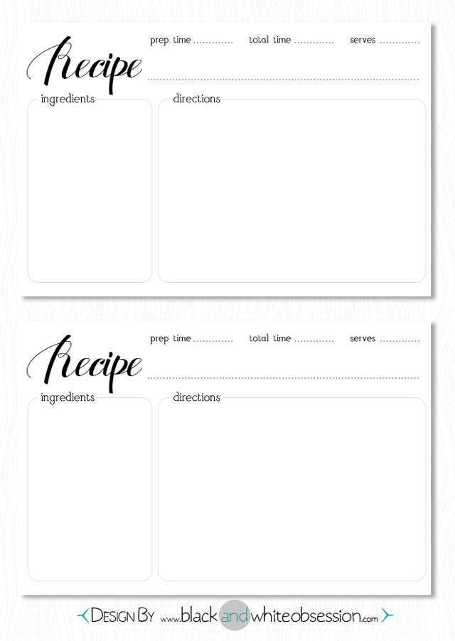 Printable Recipe Cards Black And White Suyhi