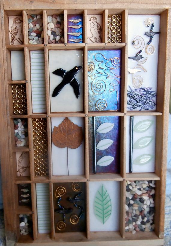One of a kind bird themed printer drawer by AtkinsGlassandCanes