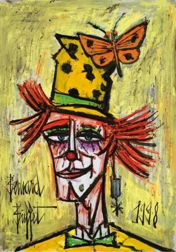 Bernard Buffet - CLOWN AU PAPILLON ORANGE; Creation Date: 1998; Medium: oil on canvas; Dimensions: 36.25 X 25.62 in (92.08 X 65.07 cm)