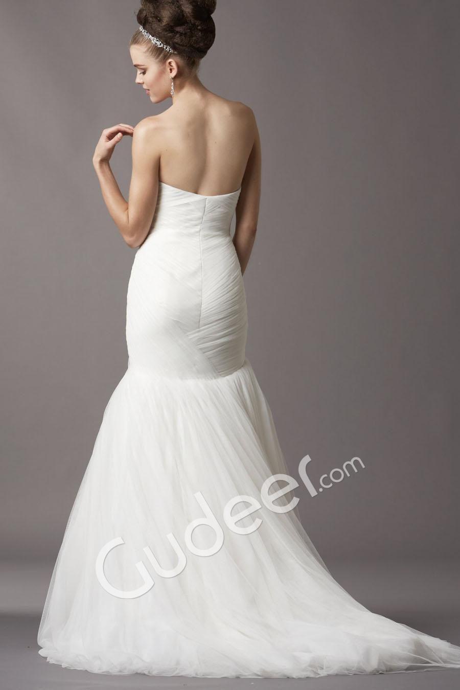 Soft Netting Mermaid Silhouette Strapless Shirred Skirt Wedding ...