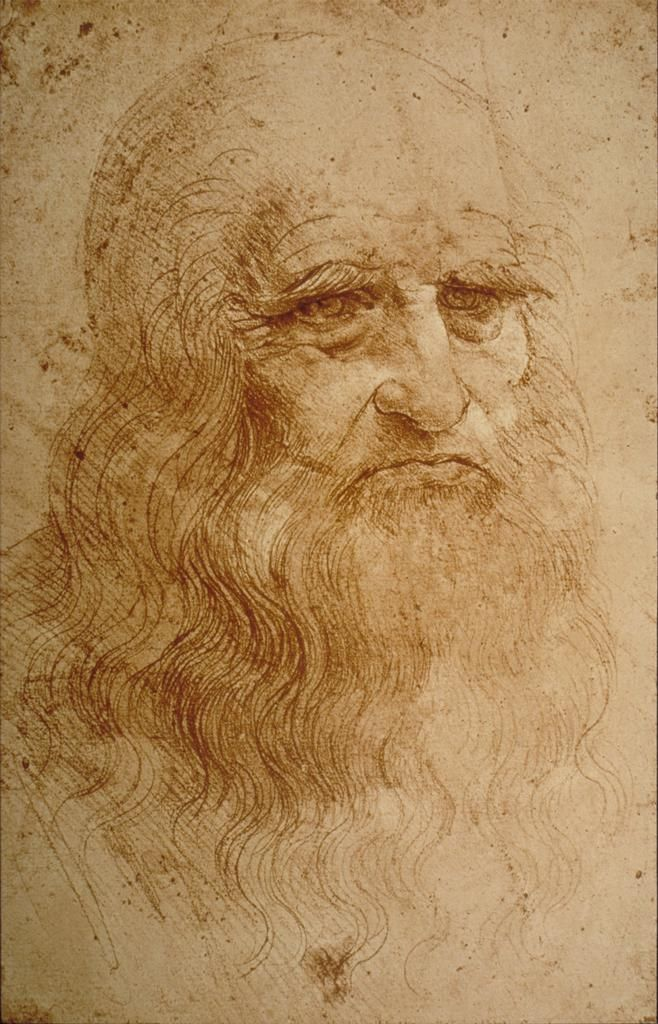 Leonardo Da Vinci Self Portrait In Red Chalk