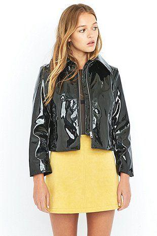 Cheap Monday Prize Black Patent Faux-Leather Biker Jacket ...