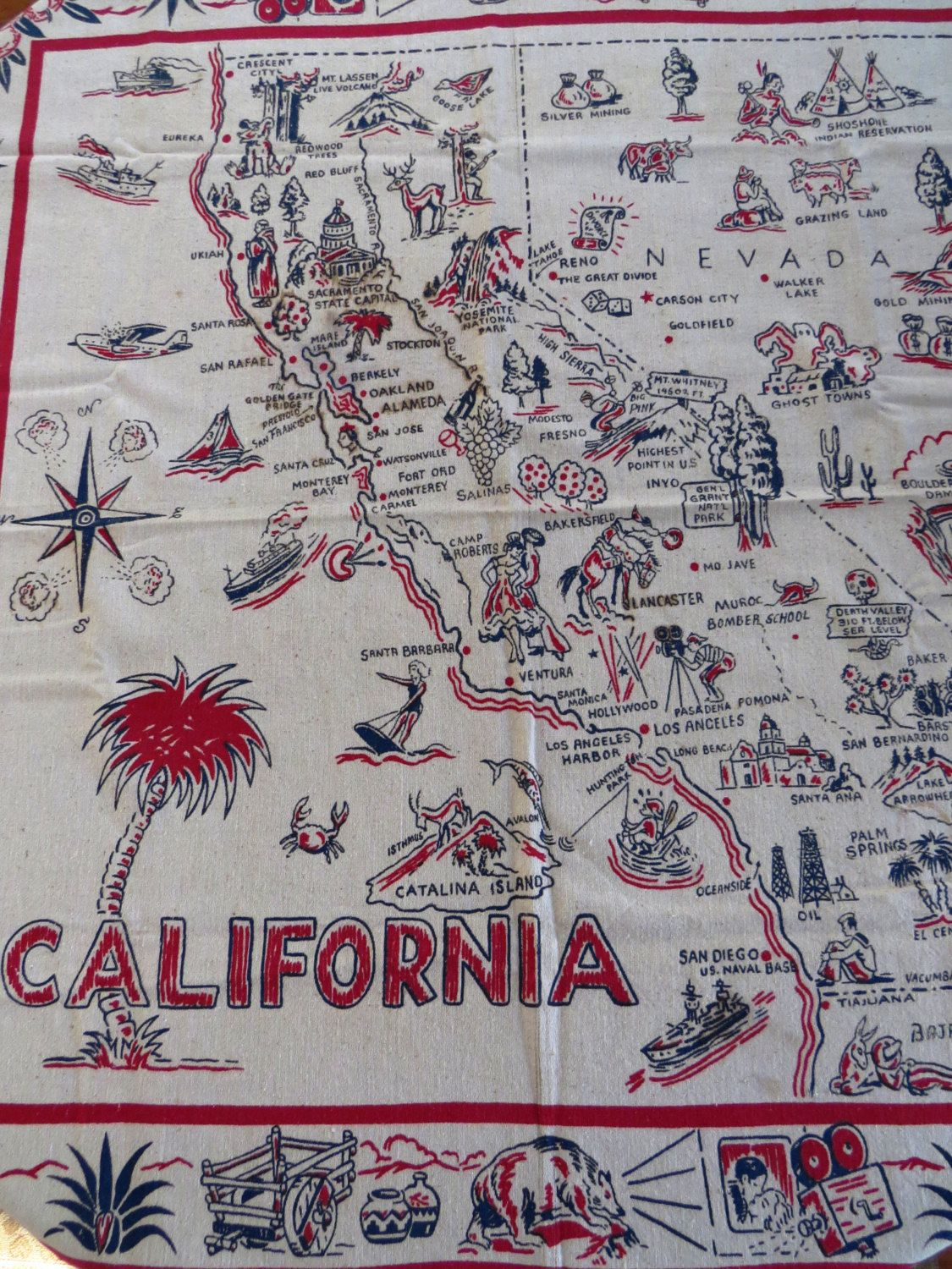 Map Of Oregon State Fairgrounds%0A RARE Vintage California State Map Tablecloth California Nevada Mexico  Souvenir     s PreDisneyland Cities Sites Collectible Table