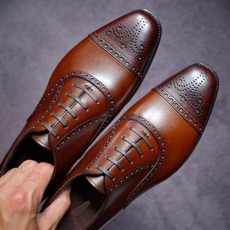Handmade Mens Oxfords brown leather
