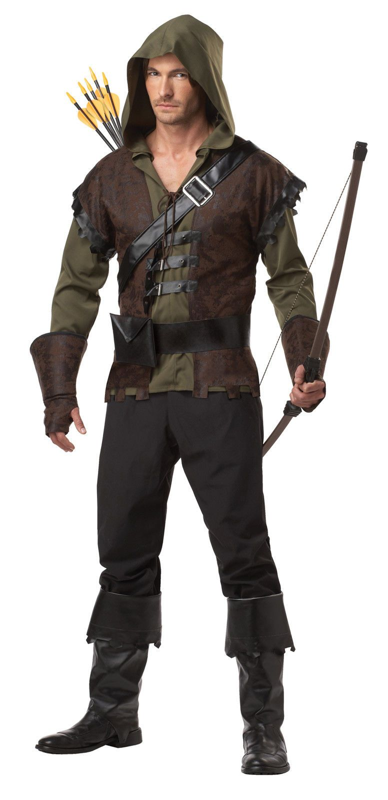 MENS ADULT ROBIN HOOD MEDIEVAL FANCY DRESS COSTUME ARCHER OUTFIT ...