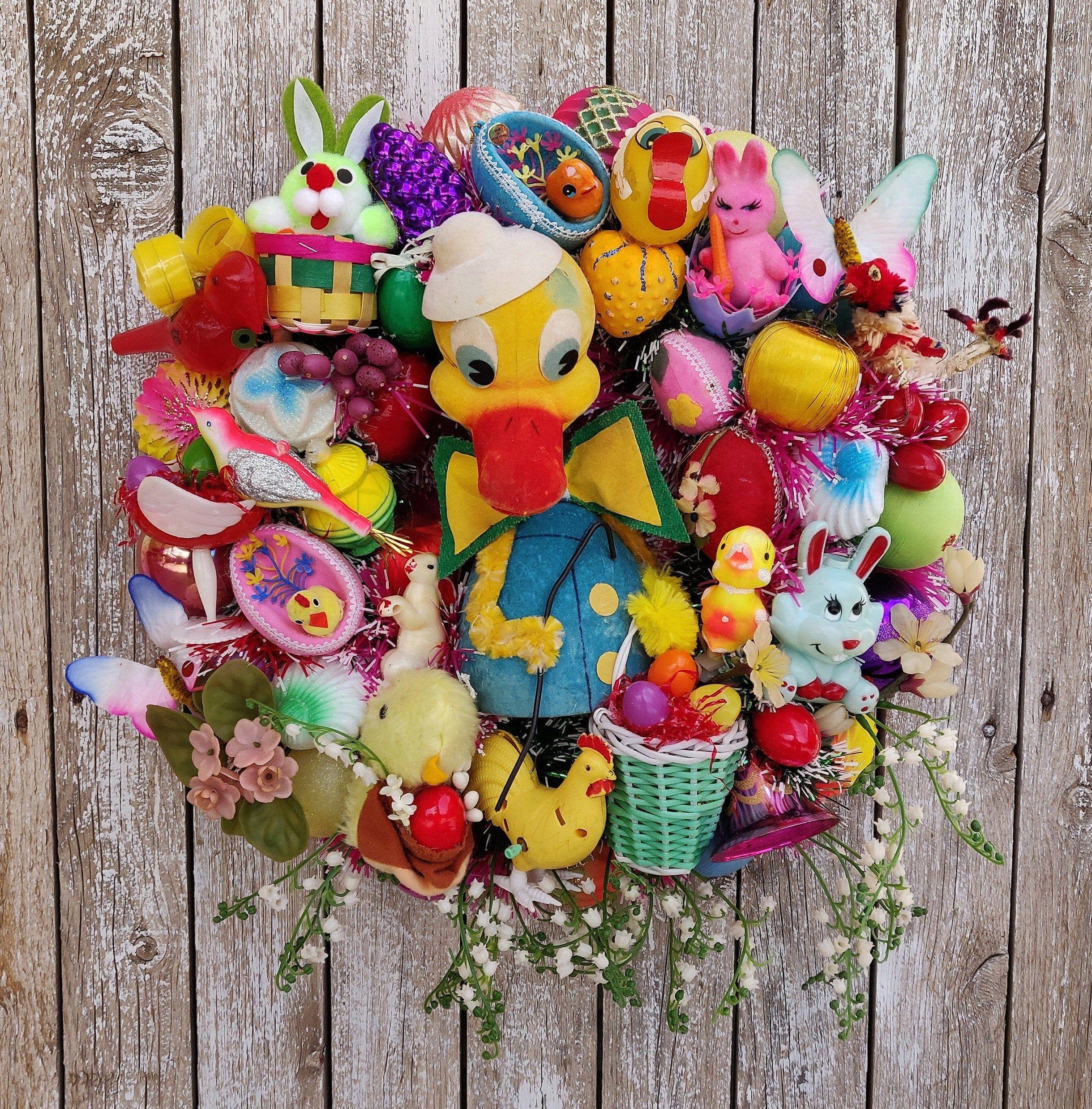 Easter Wreaths For Front Door Vintage Easter Decorations Easter