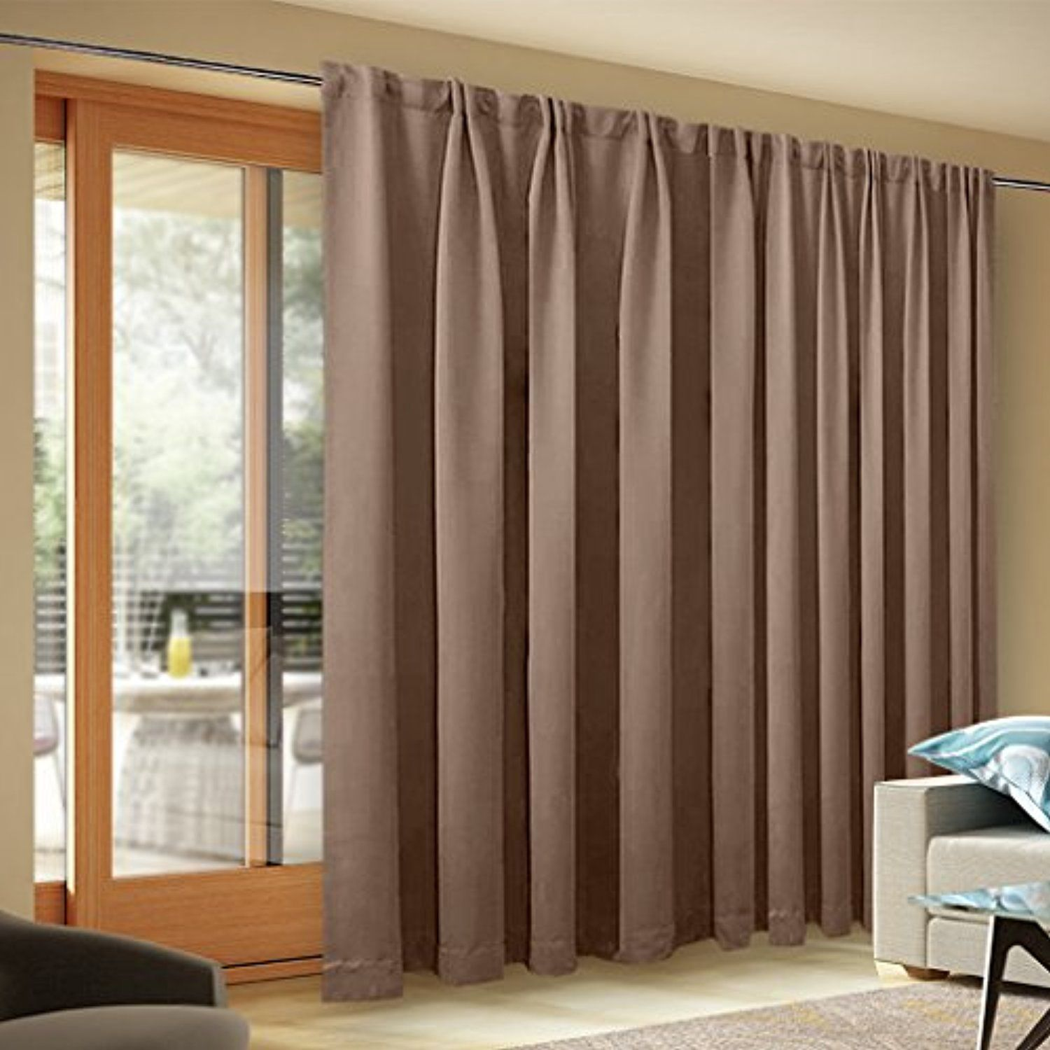 Wide Width Blackout Patio Curtain Thermal Blackout Patio Door
