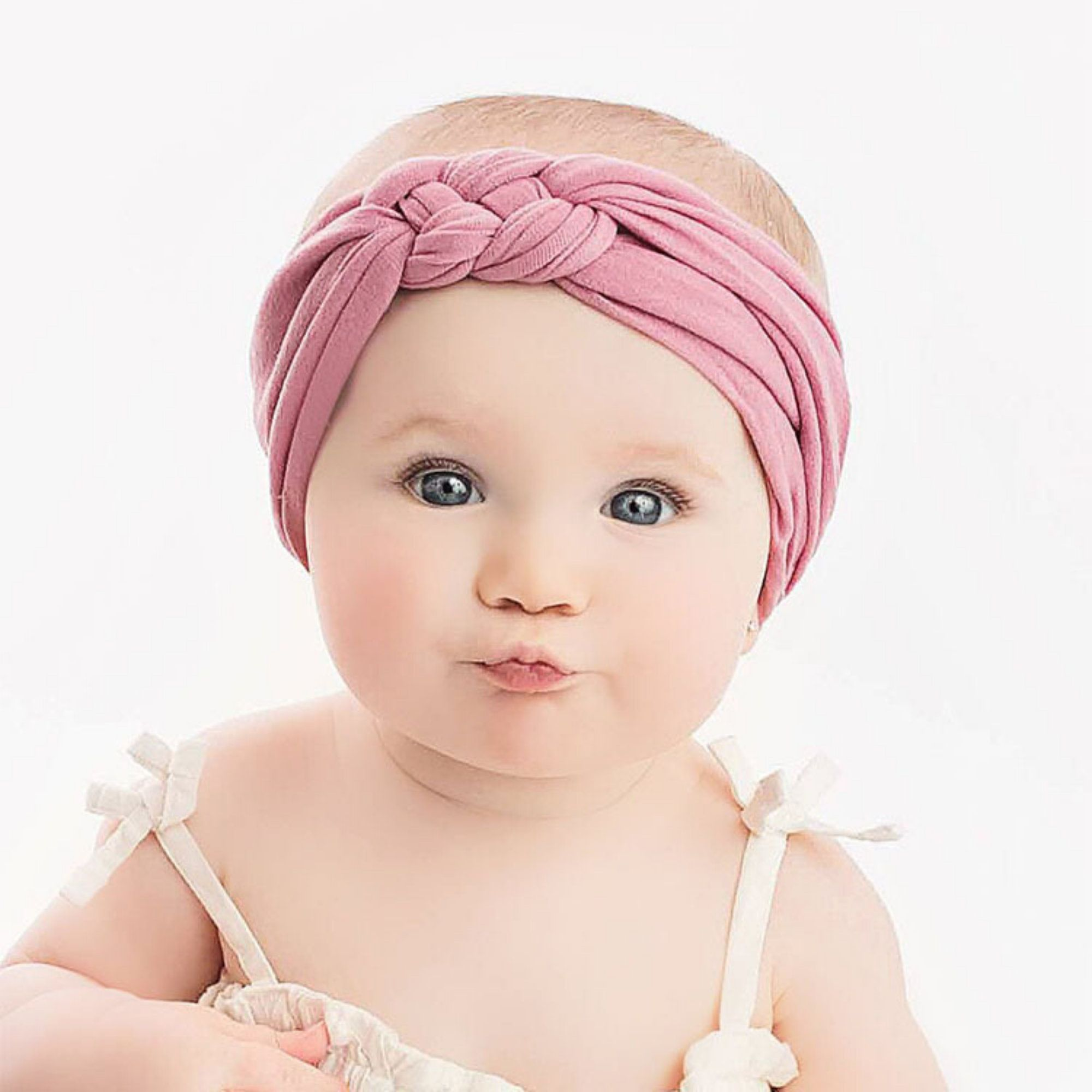 Newborn Girls Baby Turban Knotted Elastic Headbands Wrap Hair Accessories for Infant Toddler