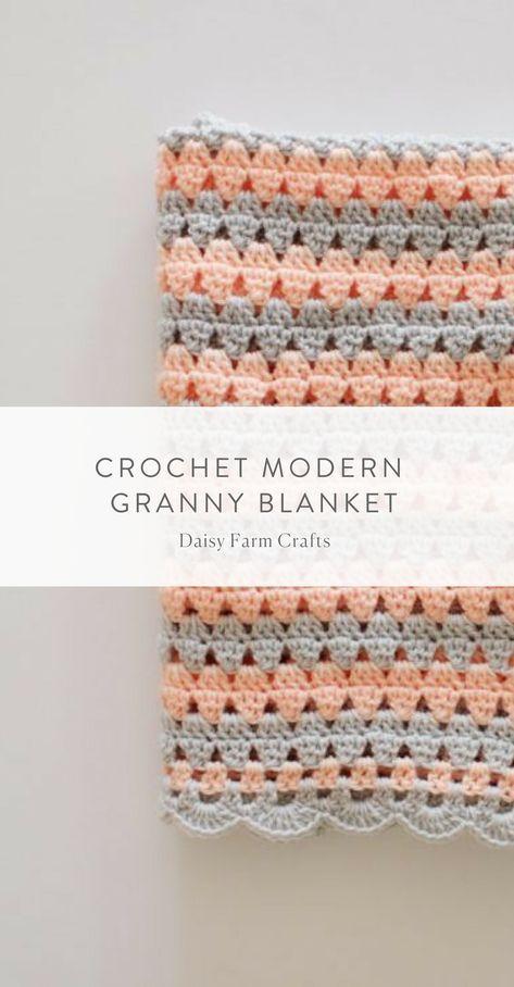 Free Pattern - Crochet Modern Granny Blanket | tejido | Pinterest ...