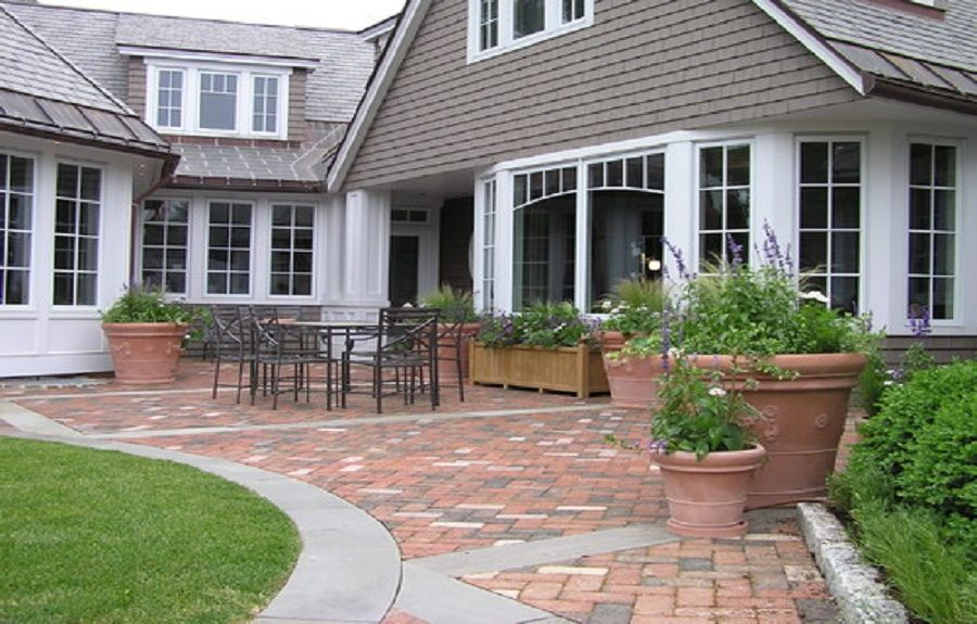 brick patio paver designs with concrete border httplanewstalkcom - Patio Brick Designs