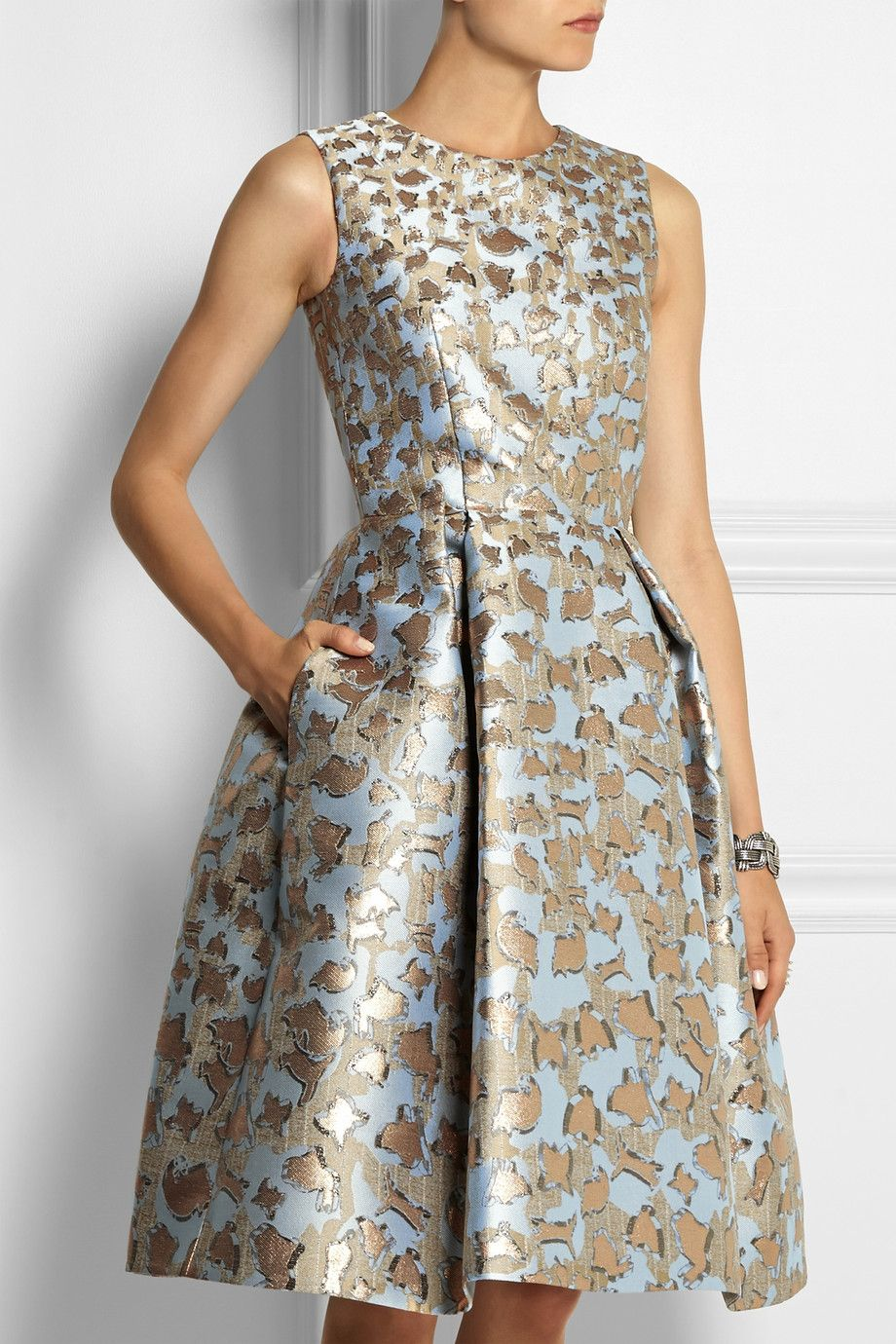 Mary Katrantzou Jq Astere Metallic Jacquard Dress Net