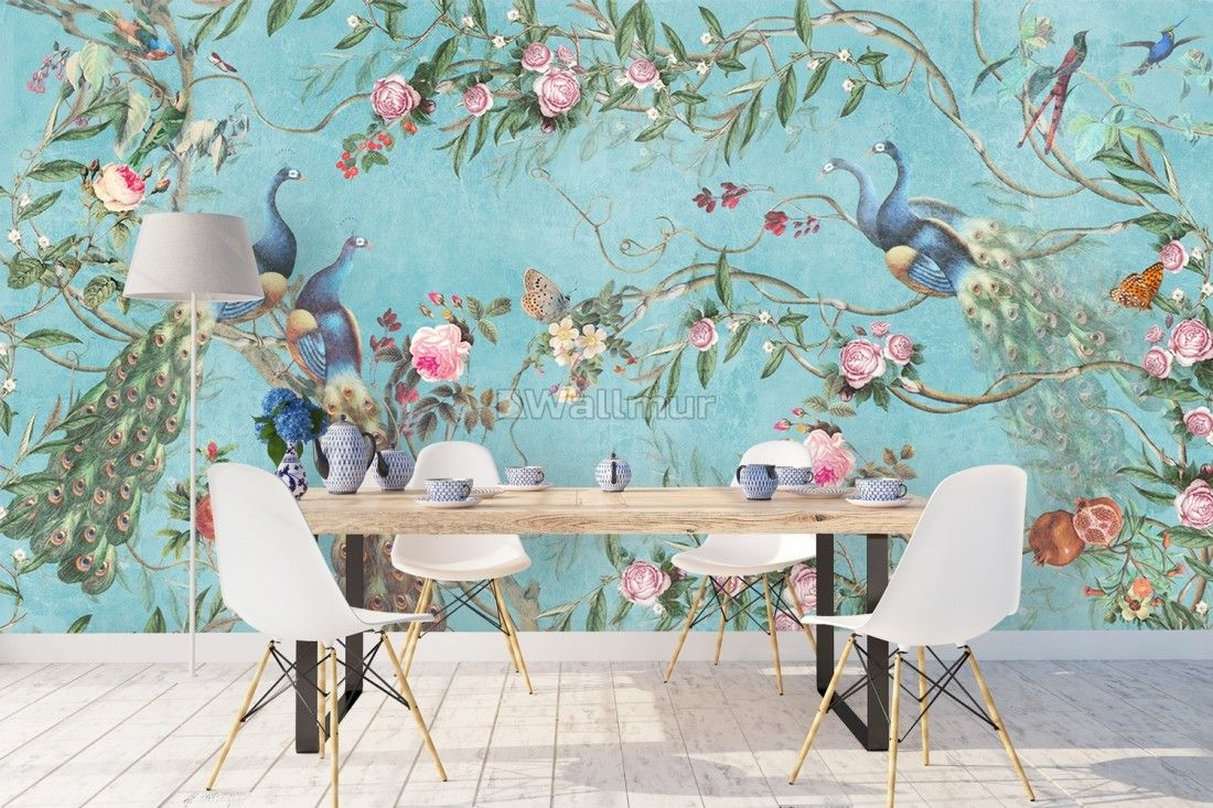 Peacock with Peony Blossom Wallpaper Mural Peacock