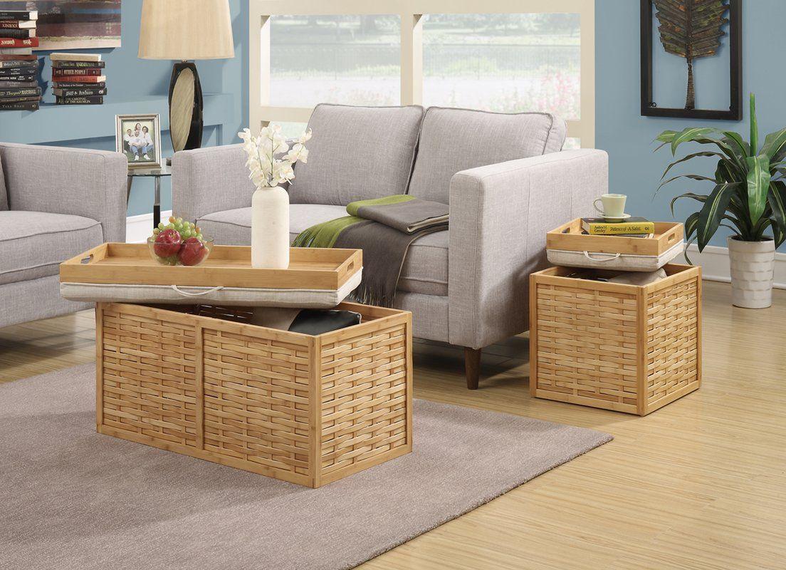 Tremendous Bamboo Storage Ottoman Coffee Table Furniture Furniture Inzonedesignstudio Interior Chair Design Inzonedesignstudiocom