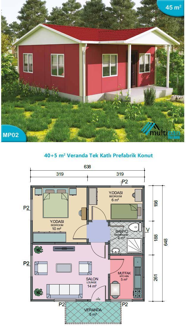 Mp2 40m2 5m2 2 Bedrooms 1 Bathroom Seperate Lounge Kitchen Veranda Bedroom 1 10m2 Bedroom 2 6m2 My House Plans Small House Design Small House Floor Plans