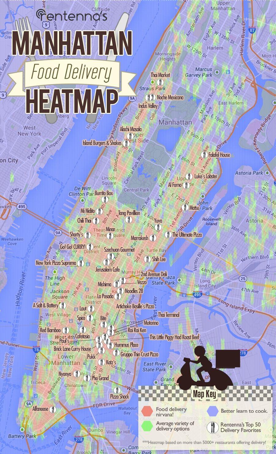 Manhattan Food Delivery Heatmap By Wwwrentennacom Via Http - Nyc unfolds map