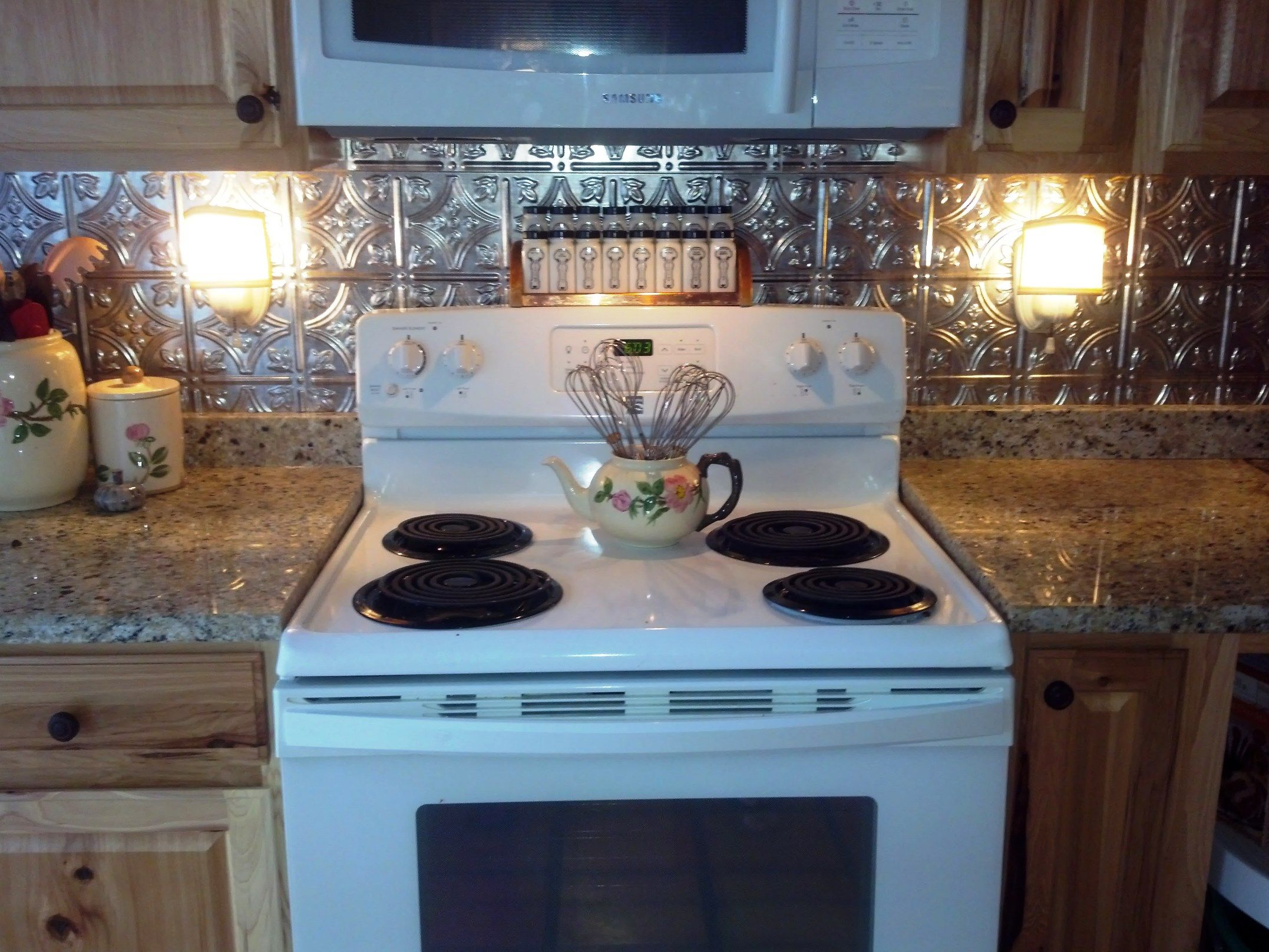 The antique 1920\'s sconces, installed in my new kitchen, Hickory ...