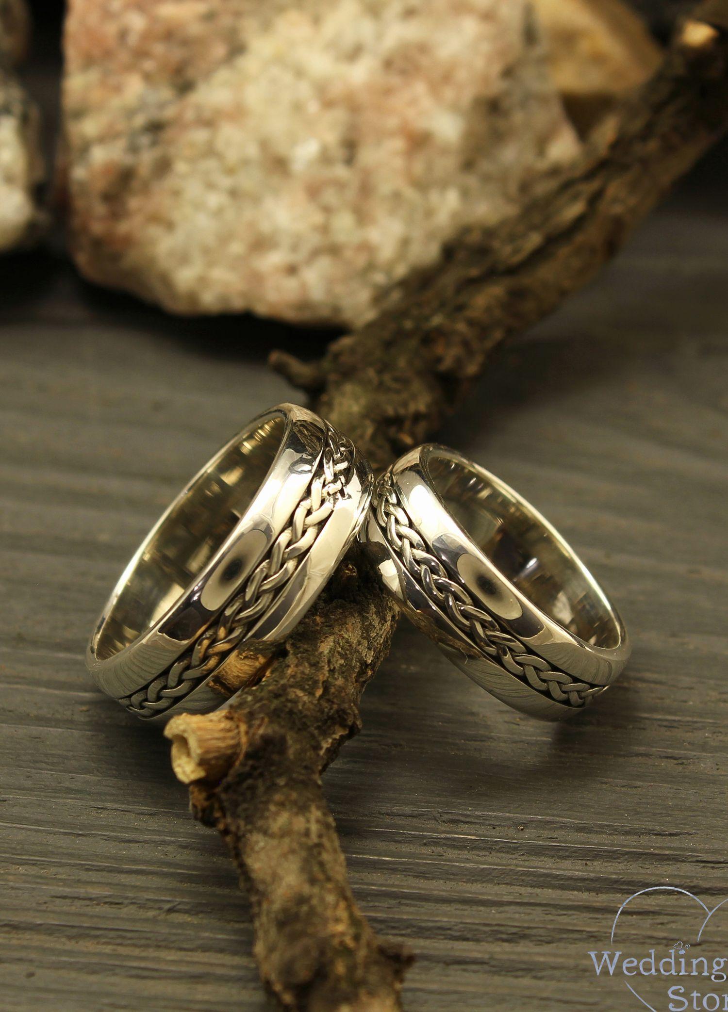 Braided wedding bands, Sterling silver wedding rings