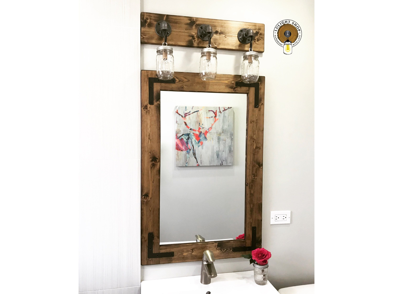 Dark walnut rustic mirror farmhouse mirror mirrors wood