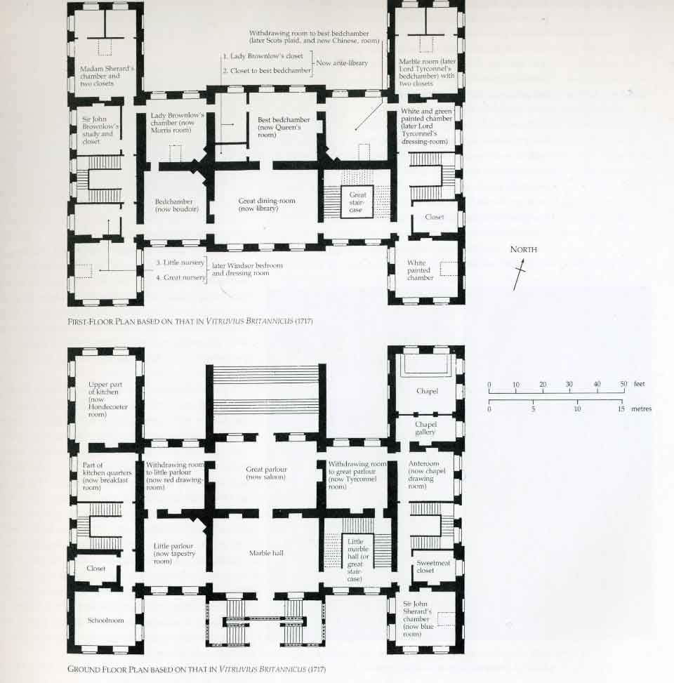 Belton house belton grantham main ground and first for Georgian mansion floor plans