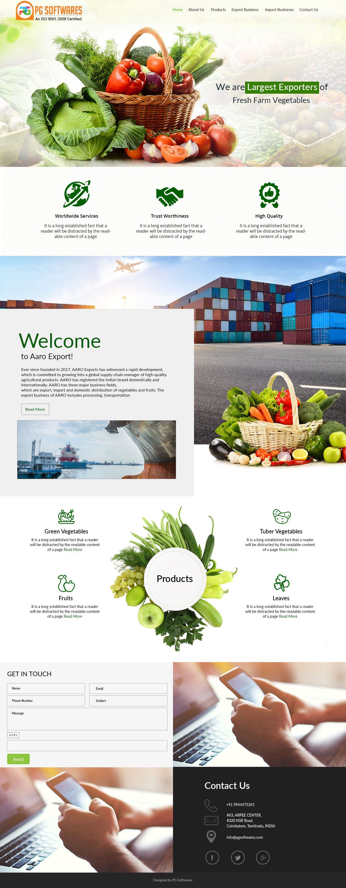 Vegtables & Fruits Export Business - Responsive Website Template ...