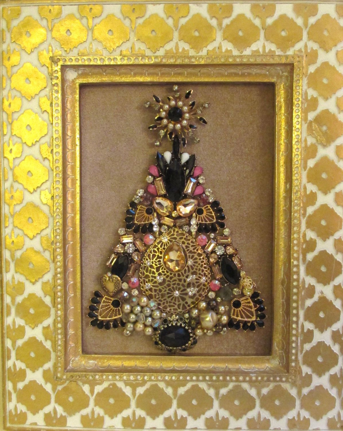 Jeweled Framed Jewelry Christmas Tree Beige Gold Black Vintage Deco