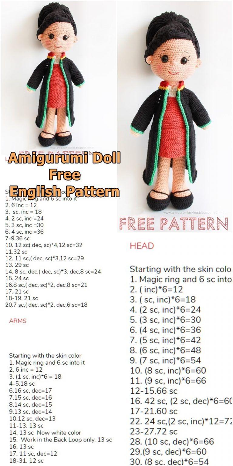 Receita Boneca Amigurumi free pattern – PT/BR – Free Amigurumi | 1536x768