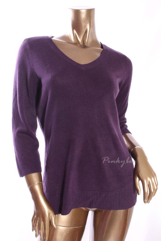 KAREN SCOTT New Womens Dark Purple Polo V-Neck 3/4 Sleeve Sweater Size M #KarenScott #VNeck