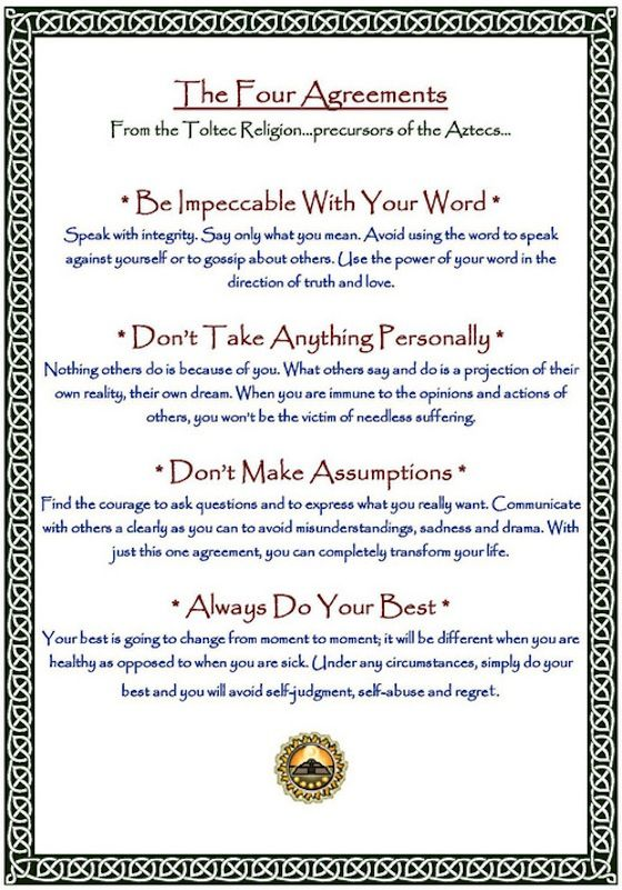 "The Four Agreements Quotes Brilliant The Fifth Agreement Isn't On Here But In His Bookbasically ""i Will . Design Decoration"