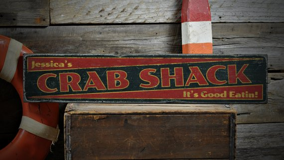 Rustic Hand Made Vintage Wooden Sign Welcome to the Crab Shack Sign